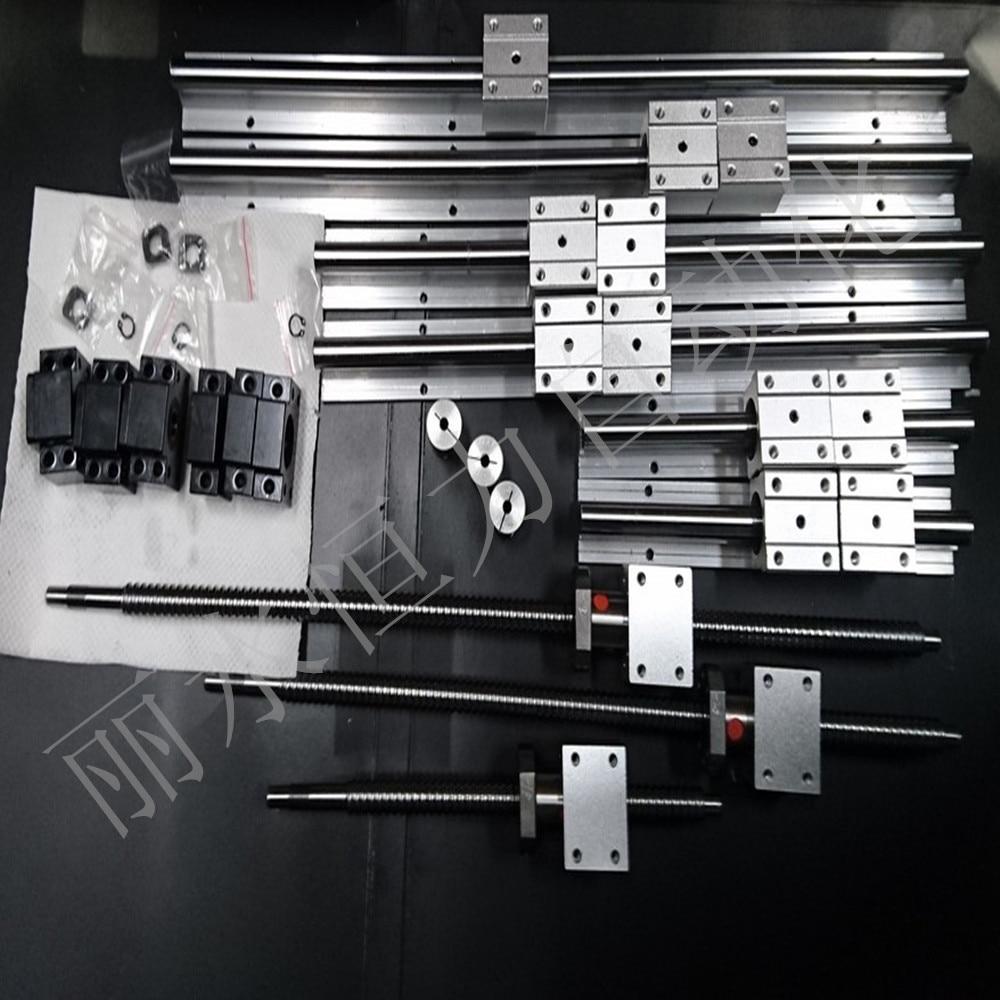 6 sets linear rail SBR16 L350/1500/1000mm+SFU1605-350/1000/1500mm ball screw+3 BK/BF12+3 DSG16H nut+3 Coupler for cnc 3 linear rail hb20 300 600 1000mm sets 3 ball screws rm1605 300 600 1000 3bk bf12 3 nut housing 3 rb couplers for cnc