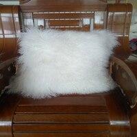 Free Shipping 2015 Two Sided Mongolian Lamb Pillow Sheepskin Fur Pillow Cushion New Made In China
