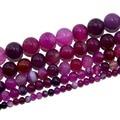 Envío gratuito cuentas de piedra Natural Agat DIY accesorios de joyería hechos a mano cuentas de rayas rosadas rojas al por mayor semiterminadas