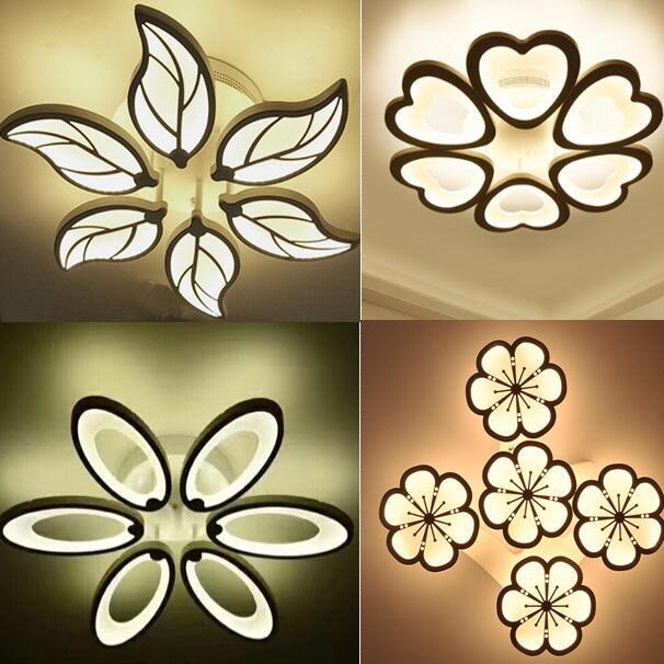 Réduction spéciale 6 têtes Nouveau Design Acrylique Moderne Led Plafonniers lampe plafond avize Intérieur 4 formes