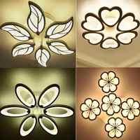 Remise spéciale 6 têtes nouveau Design acrylique plafond moderne à LEDs lumières lampe plafond avize intérieur 4 formes 100-240V