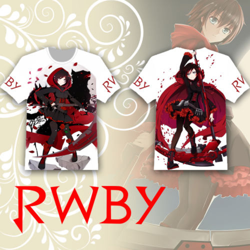 Anime RWBY T-shirt Ruby Rose T-shirt Full Printed Tee Tops Short Sleeve Summer Cosplay Costume Unisex T Shirt Fashion Gifts