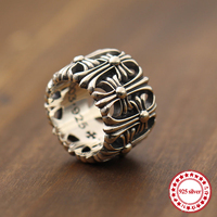 s925 sterling silver men's ring jewelry vintage punk style to create personalized cross tombstone ring hollow ring send lover's