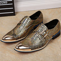 Fashion Gold Men Wedding Dress Shoes Bling Leather Flats Metal Pointed Toe Business Oxfords Chaussure Homme Creepers