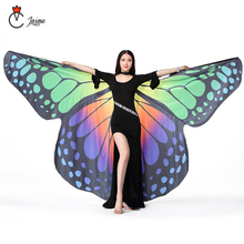 Performance Dancewear Stage Props Polyester Cape Cloak Dance Fairy Wing Butterfly Wings for Belly Dance (with Sticks and bag) butterfly wing cape pashmina