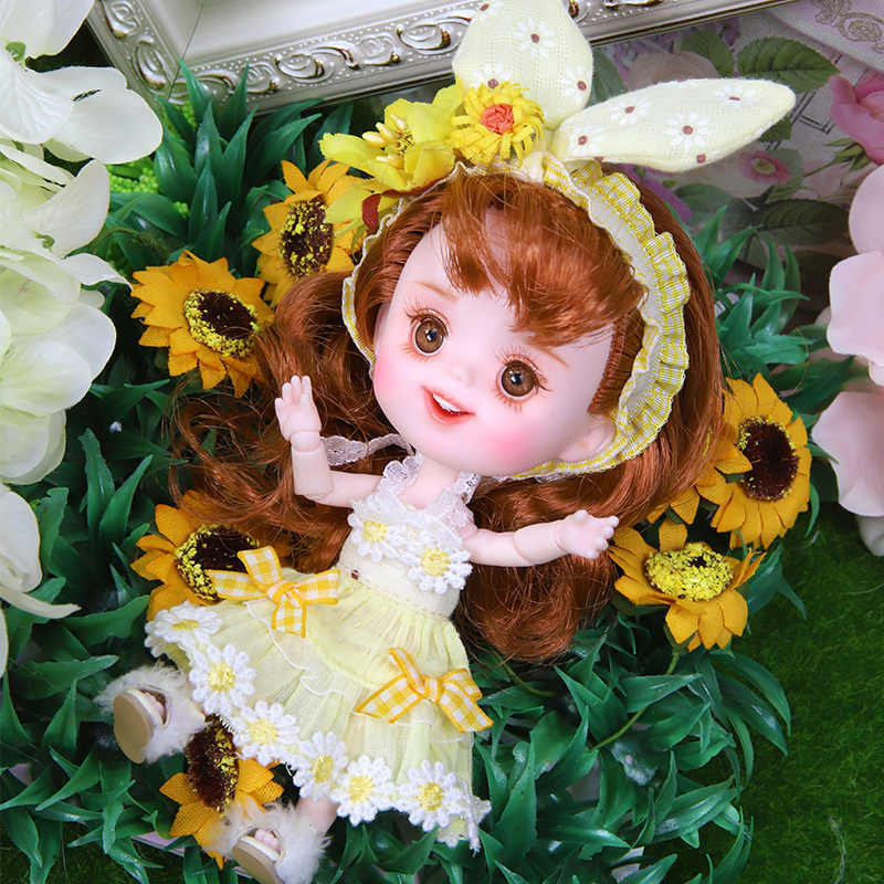 1/12 BJD Boneca Corpo Joint 26 14 CENTÍMETROS Mini sapatos DODO ob11 boneca com roupa da boneca bonecas de maquiagem e caixa combinação dom Conjunto de brinquedos