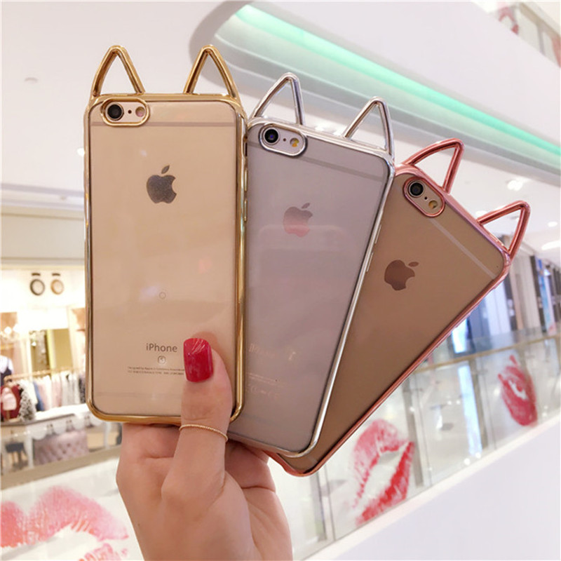 Μόδα Cute Cute Cartoon Cat Ears Phone Case για Apple iPhone 6 6S 7 8 Plus X Ultra Slim TPU Silicone Clear Back Cover