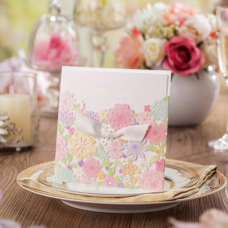 100Pcs Colorful Flower Hollow Laser Cut Wedding Invitation Card Greeting Card Personalized Custom Print Event Party Supplies 1 design laser cut white elegant pattern west cowboy style vintage wedding invitations card kit blank paper printing invitation