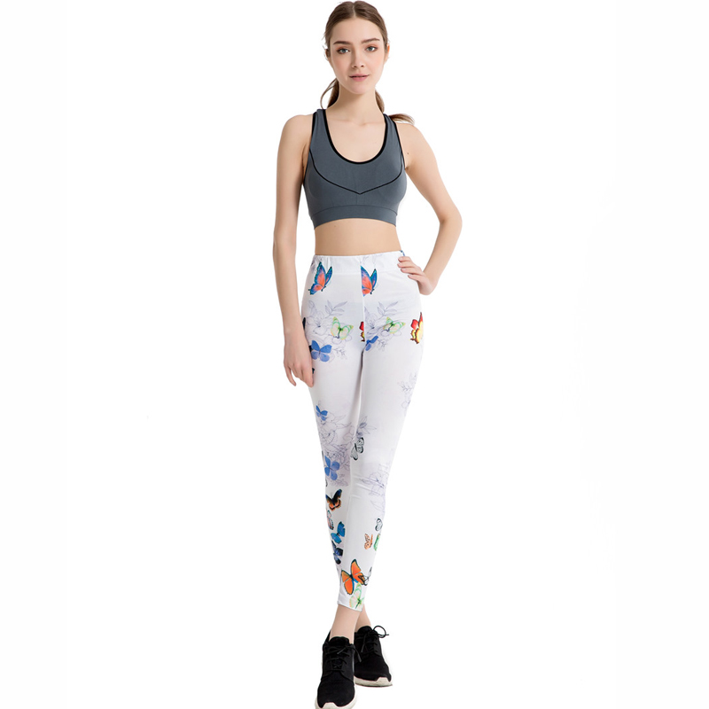 Butterfly Print Fitness Stretch Slim Leggings