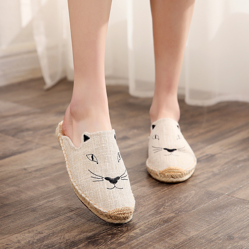 2019 Summer New Female Embroidery Cats Sippers Round Toe Lady Flat Espadrilles Slide Fisherman Shoes Slip On Women Beach Sandals (11)