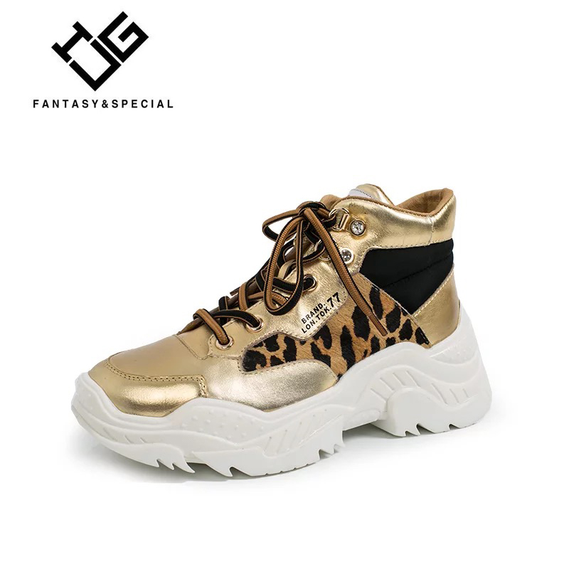 IGU Sneakers Women Genuine Leather Leopard Print Sneakers For Women Flat Casual Platform Shoes Tenis Feminino Chaussure Femme igu sneakers women genuine leather shoes females platform shoes ladies flats harajuku punk shoes creeper girls chaussure femme