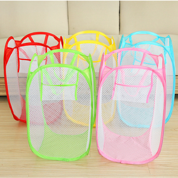 New Foldable Pop Up Washing Clothes Laundry Basket Bag Hamper Mesh Storage W617