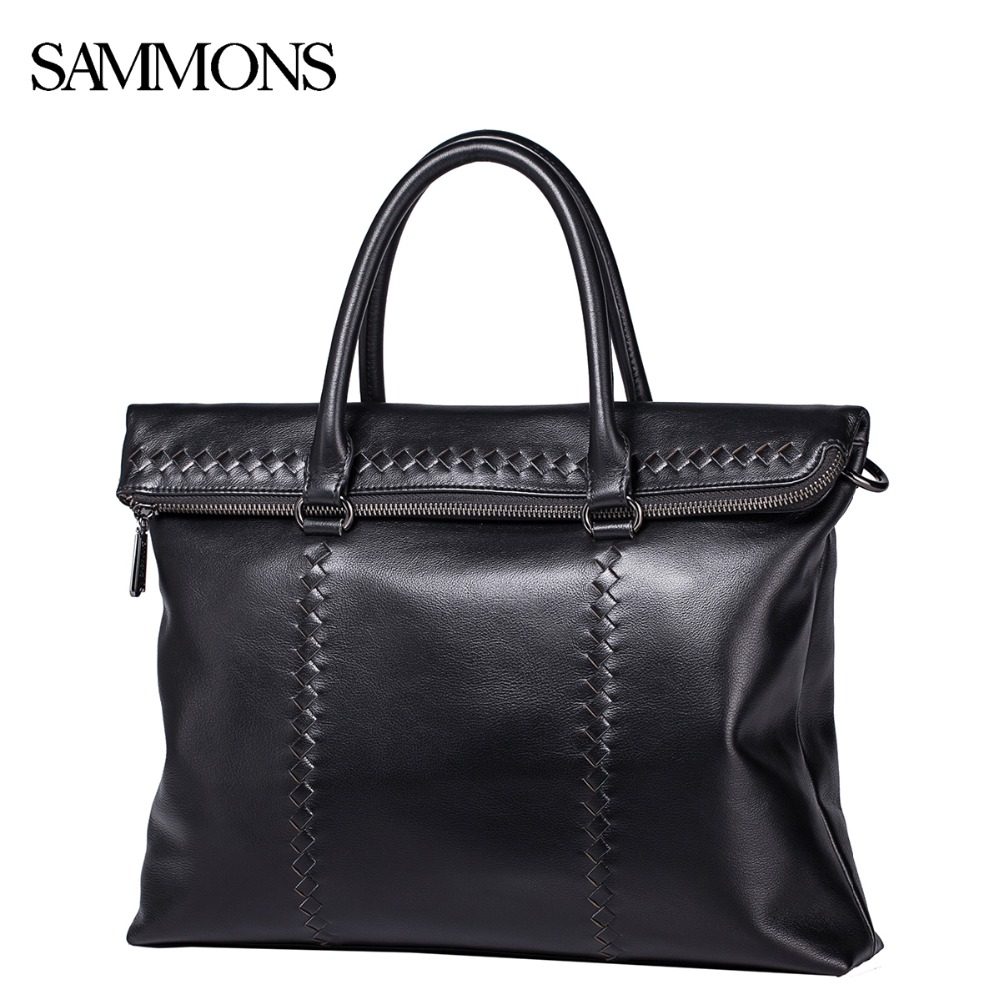SALE!!! Sammons Men's Genuine Leather Briefcase Business Cowhide Totes Bags Male Knitting Real Leather Travel Crossbody Bags