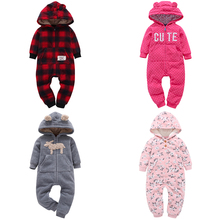 цена на Baby Rompers Cute Ear Hooded Fleece Jumpsuit Baby Girl Overalls Newborn Toddler Infant  Autumn Winter Boy Clothes