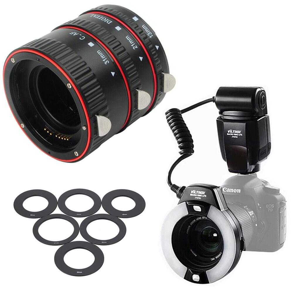 For Canon DSLR Cameras INSEESI Plastic AF Macro Extension Tube Ring Lens Adapter + Viltrox JY-670C LED Macro Ring Flash Light meike mk n af1 b auto focus macro extension tube ring plastic for nikon d800 d90 d3200 d5000 d5100 d5200 d7000 d7100 camera dslr