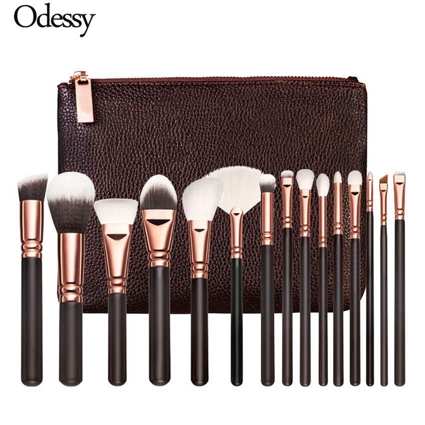 8/12/15PCS Rose Gold Makeup Brushes Professional Complete Soft Synthetic Eye Face Kabuki Cosmetic Beauty Make Up Brush with Bag