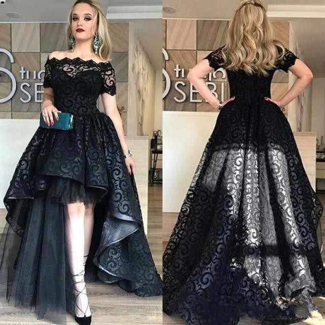 880ddae68a1d Modest High Low Lace Bridesmaid Dresses Off Shoulder Short Sleeve A Line  Lilac Wedding Guest Party