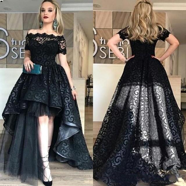 Modeste haute basse dentelle robes de demoiselle d'honneur hors épaule à manches courtes une ligne lilas mariage invité fête robes de bal personnalisé