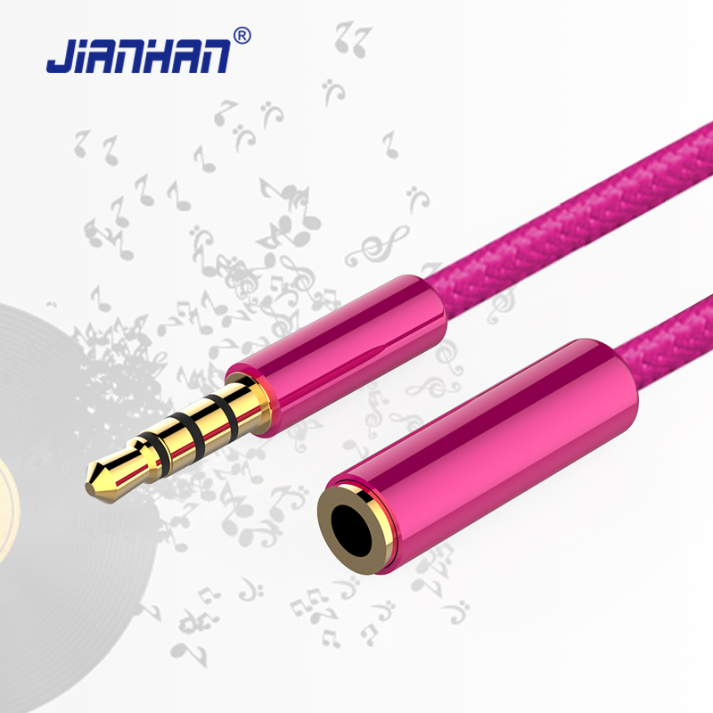 JianHan AUX Audio Extension Cable 3.5mm Male to Female Stereo Aux Audio Cable Nylon Braided for PC Headphone Cellphone DVD MP3/4
