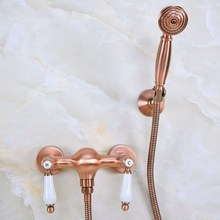 Antique Red Copper Brass Double Ceramic Handles Wall Mounted Bathroom Shower Faucet Mixer Tap Telephone Style Hand Shower ana299