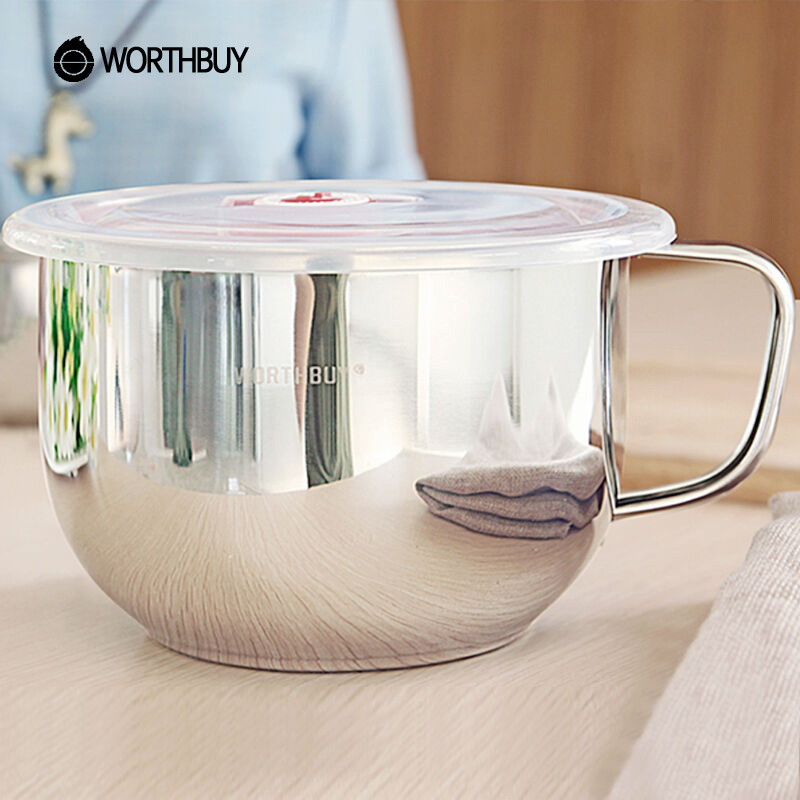 WORTHBUY High-Capacity Rice Soup Noodle Bowl Japanese 304 Stainless Steel Salad Fruit Food Container Box Cup With Handle Lid