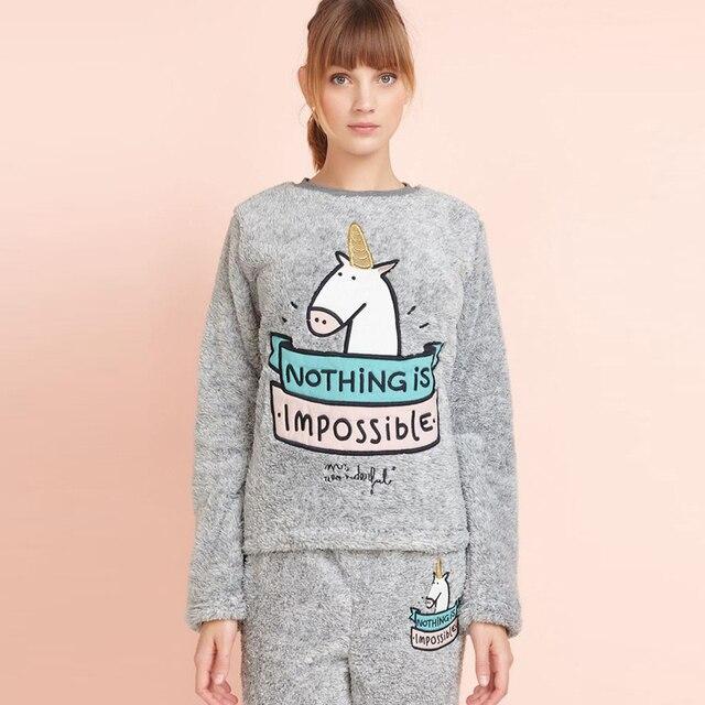 88ba425efa31 Pijama Unicornio Kigurumi Pyjamas Women embroidery velvet warm soft grey  cute Pijama Feminino Inverno Sleepwear Pyjama Femme