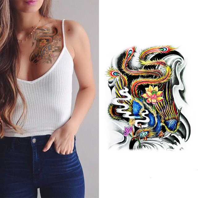 buy chinese phoenix tattoo designs waterproof women large temporary tattoo. Black Bedroom Furniture Sets. Home Design Ideas