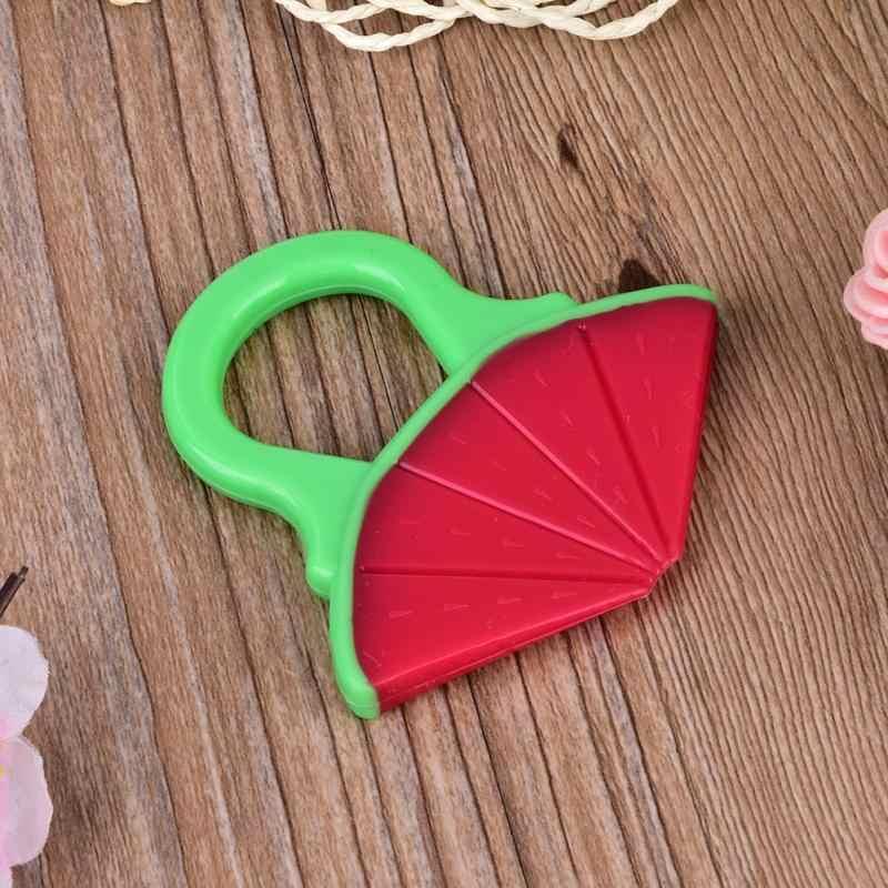 Juguetes de dentición de silicona suave mordedor de fruta para bebés juguetes de dentición de plátano de sandía de uva interesante para niños pequeños
