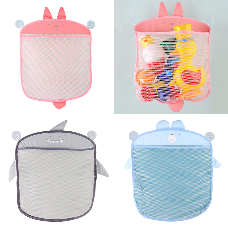 Cartoon Cute Bath Toy Bathroom Hanging Storage Basket Baby Kids Storage Organizer Bathroom Folding Mesh Storage Toy For Children