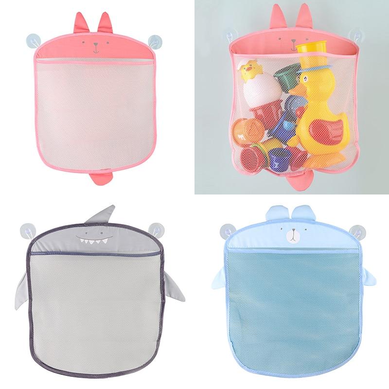 Cartoon Cute Bath Toy Bathroom Hanging Storage Basket Baby Kids Storage Organizer Bathroom Folding Mesh Storage Toy For Children