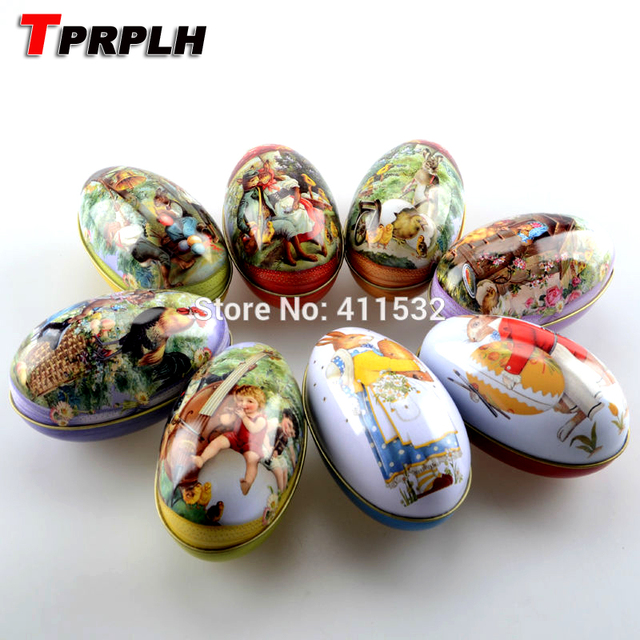 TPRPLH 8pc/lot Large size easter eggs tin candy storage box easter decoration NL109