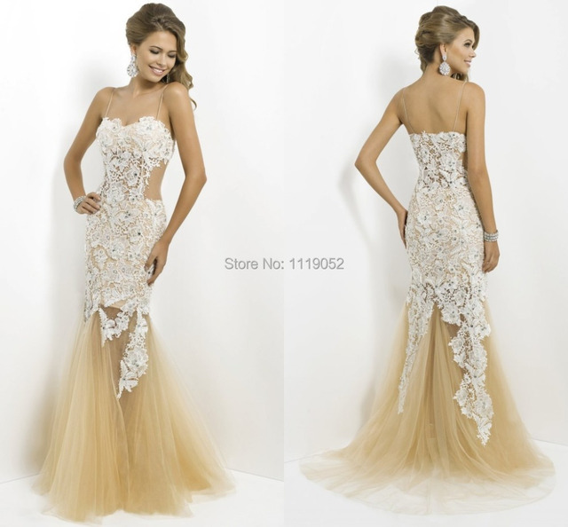 5d7f69b5a59 Pop Latest Spaghetti Strap Lady Trumpet Floor Length Sweetheart Appliques  Sleeveless Red Yellow Mermaid Lace Prom Dresses 2014