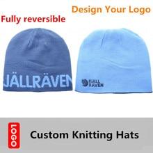 Logo Design Custom Full reversible Knitting Hats Small MOQ Winter Hats Adlut Kid Men Women Figure Embroidery Logo
