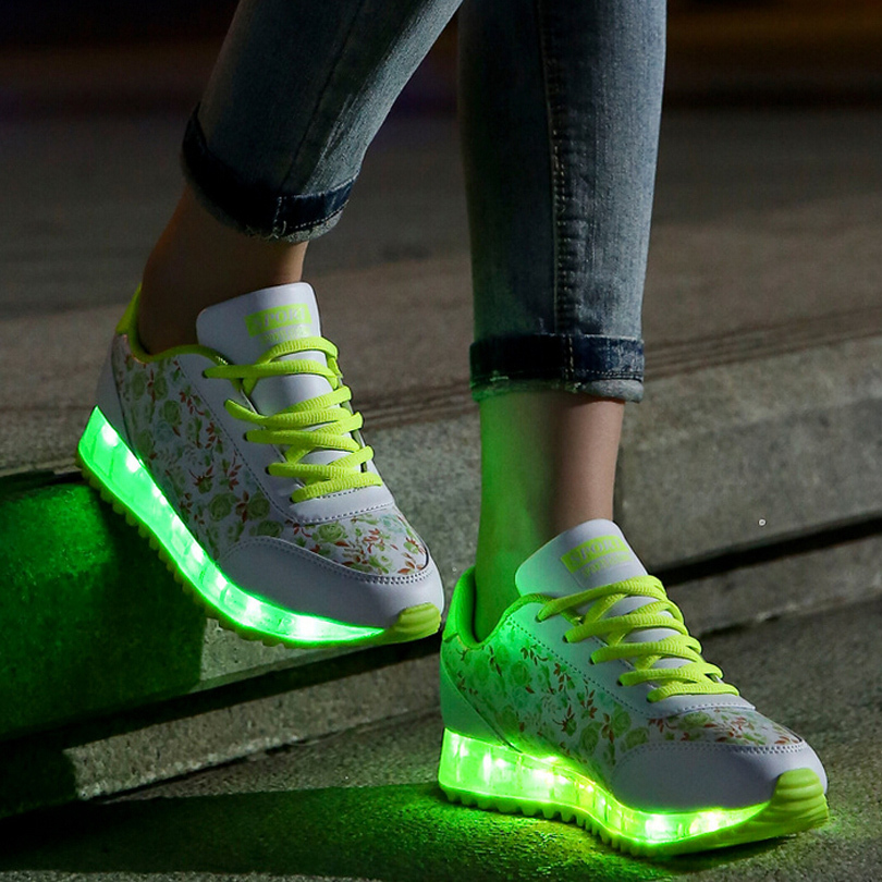 New Light Up Shoes For Adults Fashion Led Shoes Floral