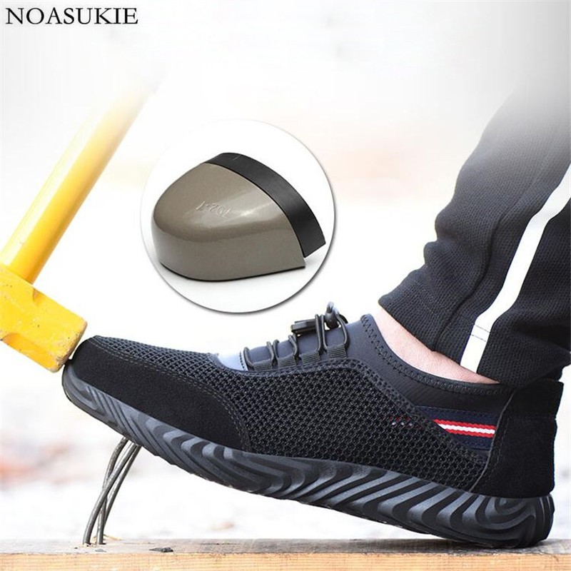 Men Summer Tenis Lightweight Safety Shoes Mesh Breathable Steel Work Shoes Sneakers Anti Smashing Puncture Steel Toe Shoes-in Work & Safety Boots from Shoes    1