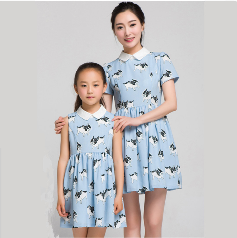 2019 new mother daugher dresses family matching mum and girl clothes girls sleeveless white doll collar blue animal print dress