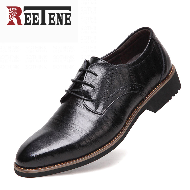 100% Genuine Leather Mens Dress Shoes, High Quality Oxford Shoes For Men, Lace-Up Business Men Shoes, Brand Men Wedding Shoes