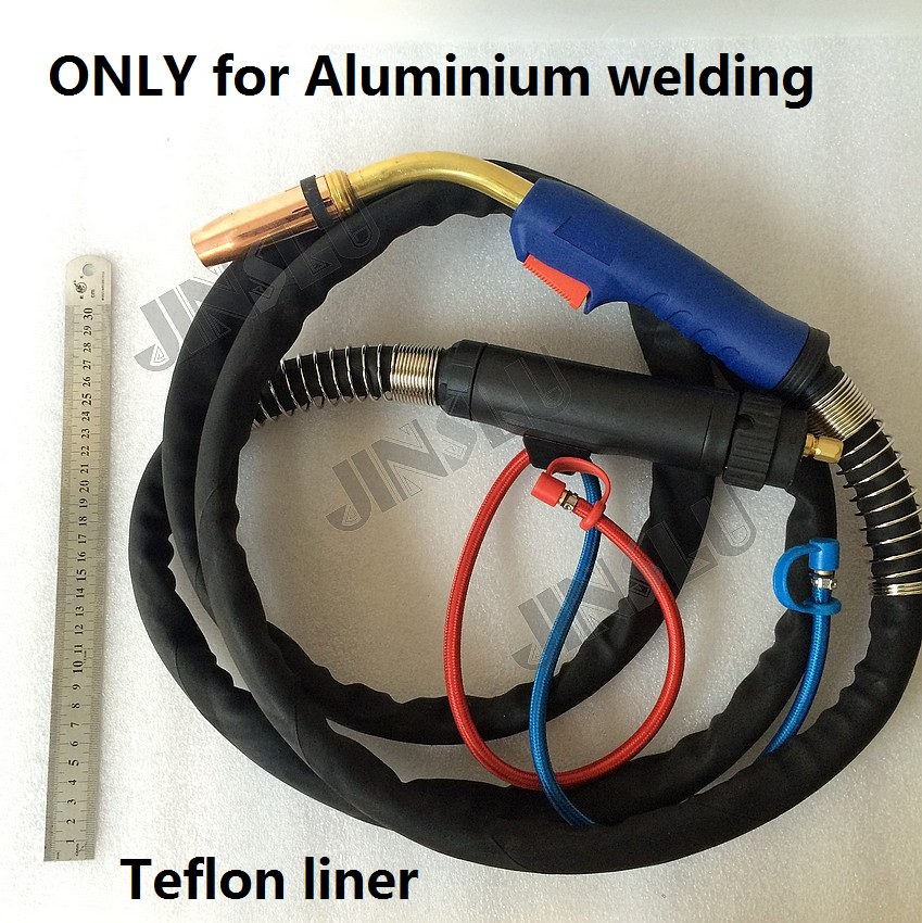 все цены на Only for aluminium welding Teflon Liner MB 501D Mig Torch Gun 3 Meter  Water Cooled with Euro Connector Connection онлайн