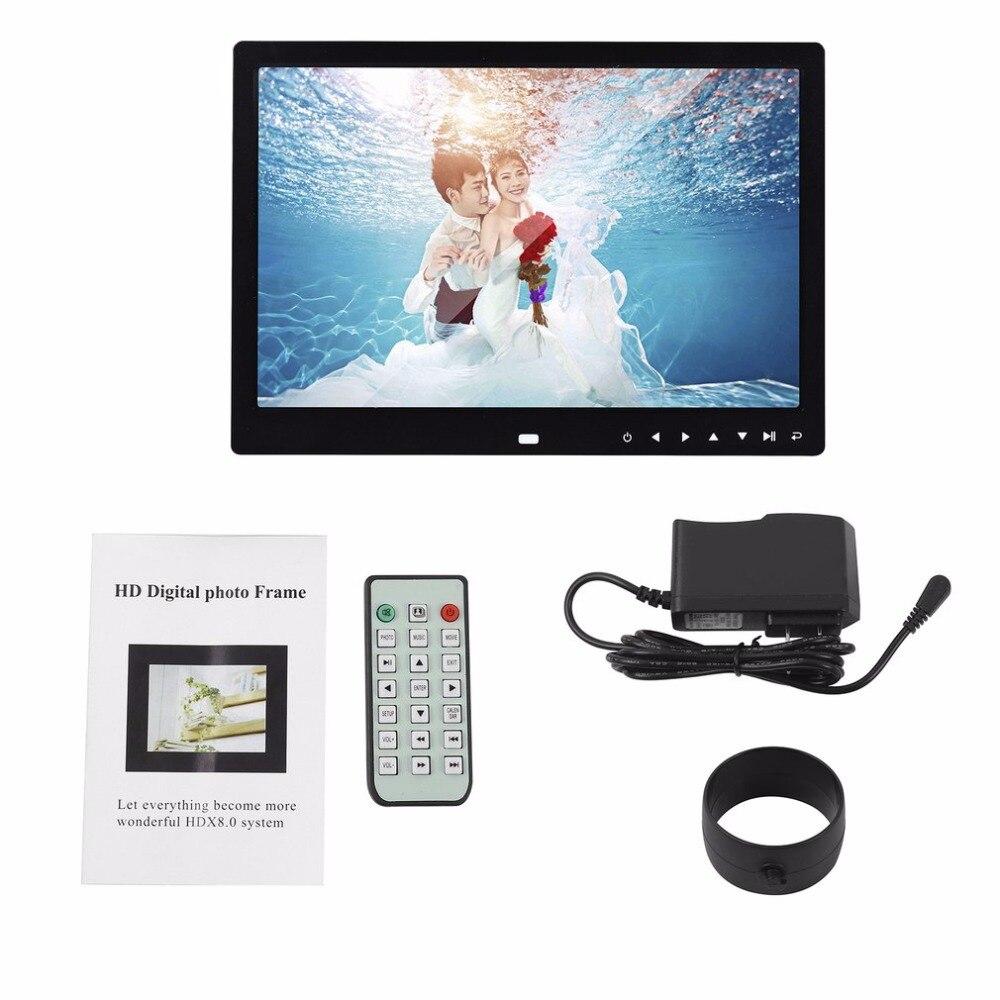 LED Digitale Foto Rahmen 12 zoll 1280*800 Hohe Auflösung Elektronische Rahmen Vorne Touch Tasten Bilder Musik Video Spielen