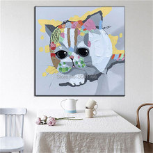 handmade oil painting on canvas cartoon cat cute cats wall picture for kid baby room Best Art gift