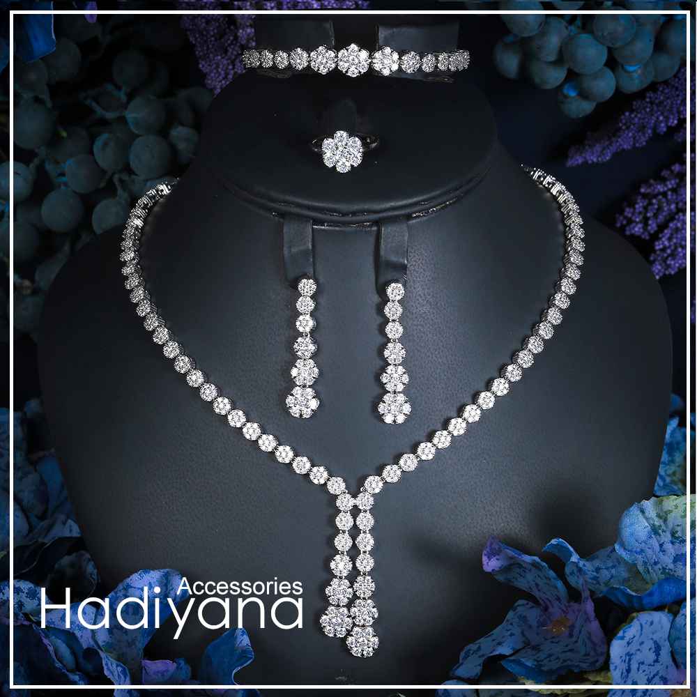 Hadiyana Fashion Engagement Party 4pc Jewelry Sets With White full Zircon New Tassel Design Bridal Jewelry Acessories Set CN022