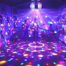 цена на RGB DJ Disco Lamps LED E27 3W Dual-head Small Magic Ball Lamp Sound Color Changing Effect Activated DJ Disco KTV Laser Projector