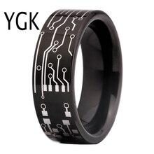 แฟชั่นเครื่องประดับแหวนผู้หญิงเรียบง่ายคลาสสิก CIRCUIT BOARD Design แหวนทังสเตนสีดำ Mens รักหมั้นแหวน
