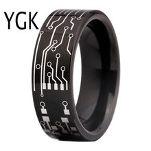 Free Shipping USA UK Canada Russia Brazil Hot Sales 8MM CIRCUIT BOARD His/Her Shiny Black Men's Tungsten Carbide Wedding Ring
