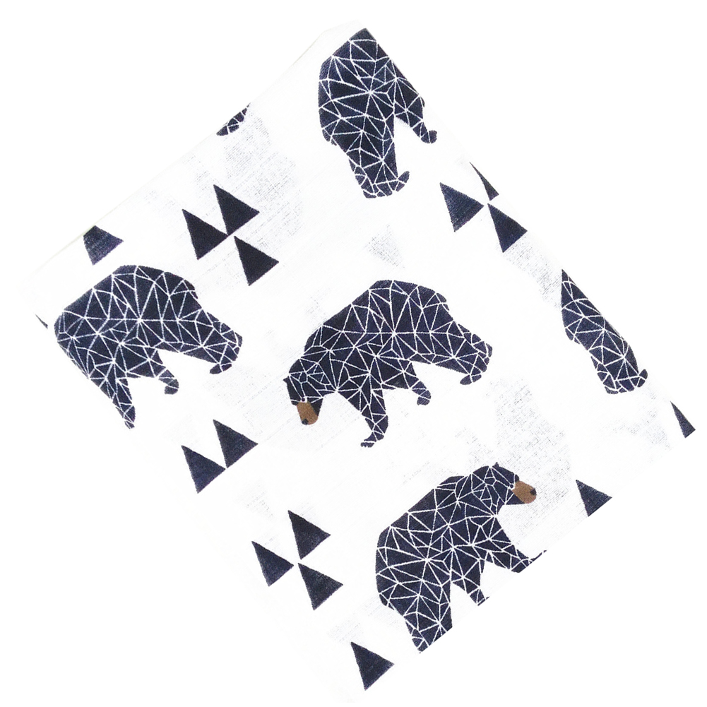 ABWE Best Sale Black Bear Printing Muslin Baby Cotton Swaddling Bag Infant Newborns Blanket Swaddling Swaddling Bedding Towel