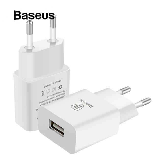 Baseus USB Sạc Cho Điện Thoại Di Động EU Cắm Sạc Du Lịch Tường Sạc Adapter Đối Với iPhone iPad Samsung Xiaomi Sạc Điện Thoại