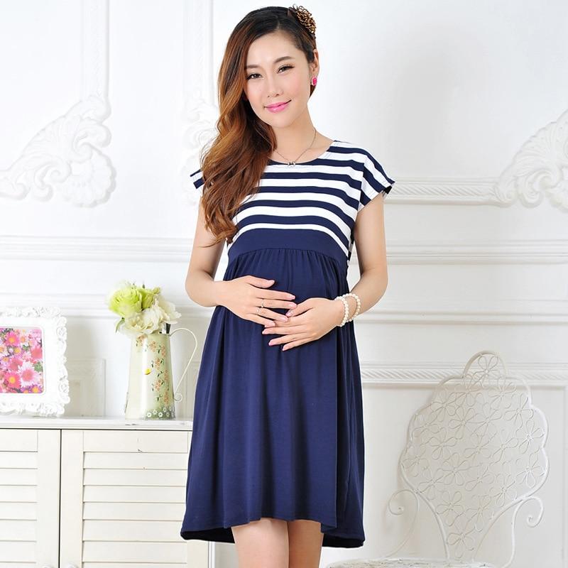 2017 Sumer νέα Έγκυες γυναίκες φόρεμα περιστασιακή μητρότητα φόρεμα βαμβάκι γυναίκες έγκυος φορέματα Φόρεμα μητρότητας Ριγέ γυναικεία pius