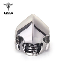 EVBEA 2016 Cool Fashion Unique Punk Man's Skull Ring Jewelry for Man Stainless Steel Titanium Man's Fashion Biker Rings