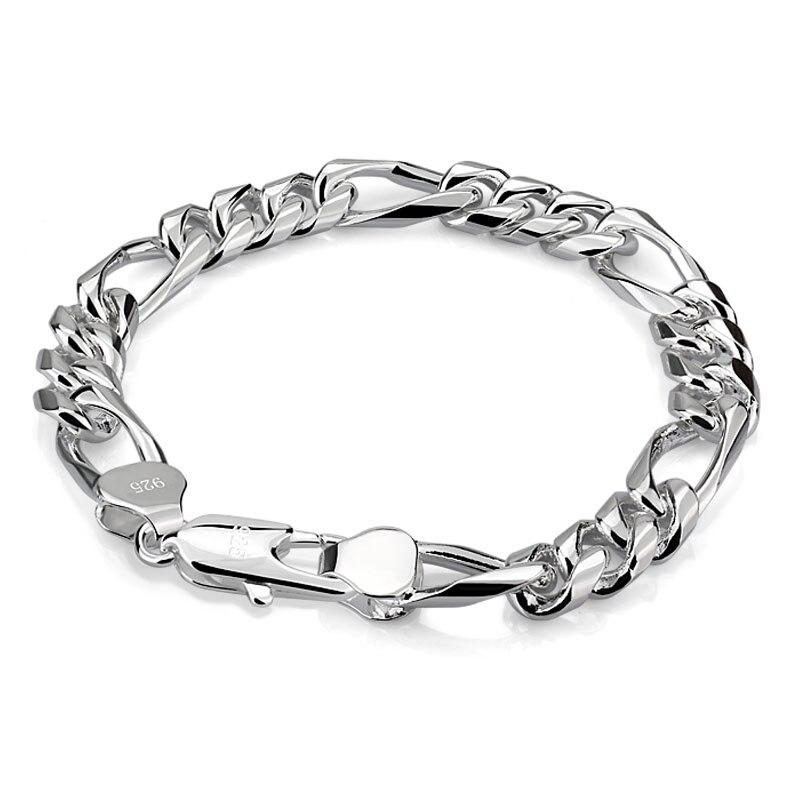 Men 925 sterling silver Bracelet Silver Fashion solid silver Bracelet & Bangle Male  boyAccessory Hip Hop Party Rock Jewelry