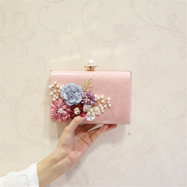 Meloke 2019 high quality flowers evening clutch bags wedding dinner bags  for ladies luxury pearl clutch